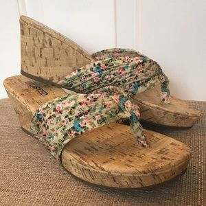 Unlisted Floral Sandals Size 7 Wedge Heel Cork